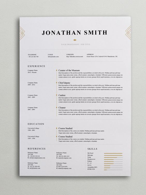elegant resume template  word  psd