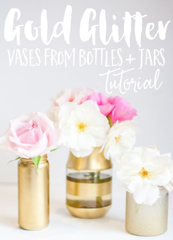 DIY VASES FROM UPCYCLED JARS. Trying to figure out what to do with all of those glass bottles and jars that keep appearing? We've got the solution. Add a few coats of gold paint to create these pretty DIY Vases from upcycled jars for your home office, windowsill, guest bedroom or dining room table. In fact, these little beauties make the perfect upcycled gift for a friend or neighbour when filled with a few fresh flowers. If they're picked from your garden, even better!