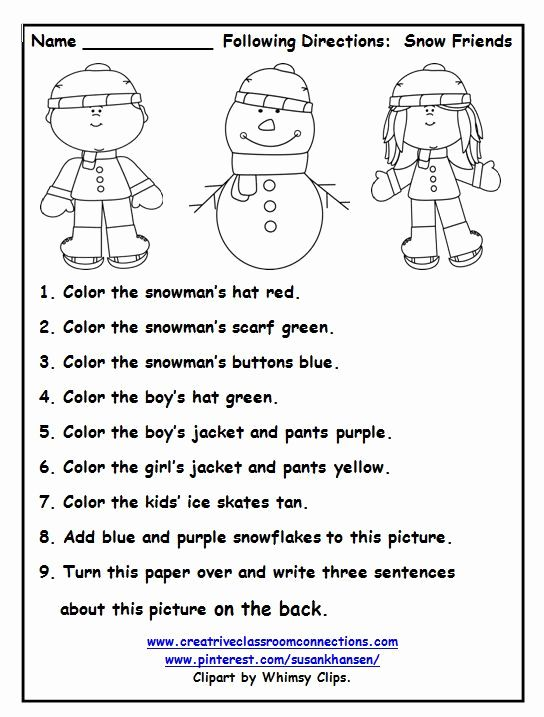 Free Following Directions Worksheet With Color Words Provides A Fun Activity Fo Follow Directions Worksheet Following Directions Worksheets Direction Worksheet