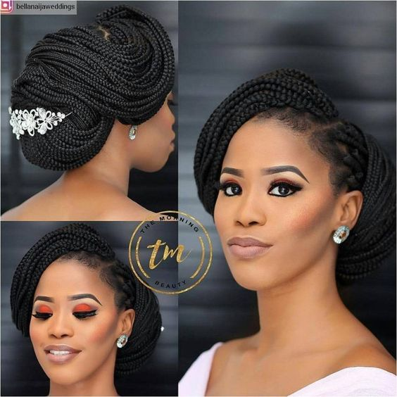 Bridal Hairstyles For Naturalistas | Because everyone wants to slay on their big day#BraidHairstyles #BlackBraids Click to See More...