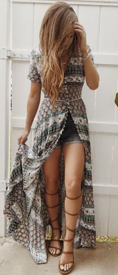 #summer #trending #outfitideas | Paisley Maxi Dress + Shorts                                                                             Source
