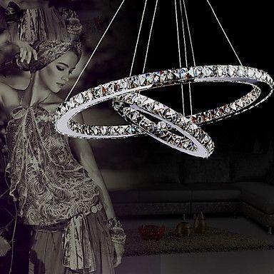 Lustre de Tecto Moderno em Cristal com LED e Dois Anéis Únicos