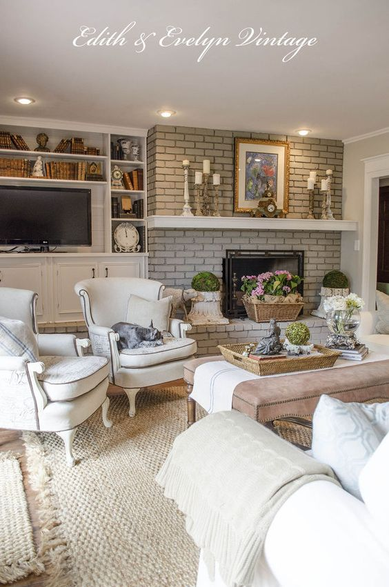 Beautiful Family Room Makeover on a Budget in a Vintage French Country Home ! So many DIY ideas & Tutorials ! This room is Stunning !