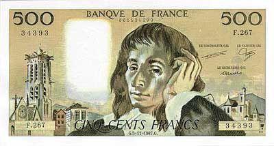 Billet de 500 francs (1968-1993)  Tour Saint-Jacques à Paris et Blaise Pascal