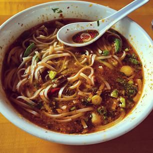 Delicious bowl of Bon Bo Hue for lunch. Spicy Vietnamese Soup at HaiKy in Westlake Hills. #atx #homesinaustin #bonbohue
