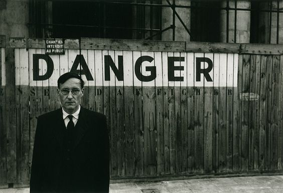 'Danger Series' - Portrait of William S Burroughs in front of the Théâtre Odeon by Brion Gysin (Naked Lunch series, Paris Oct 1959)