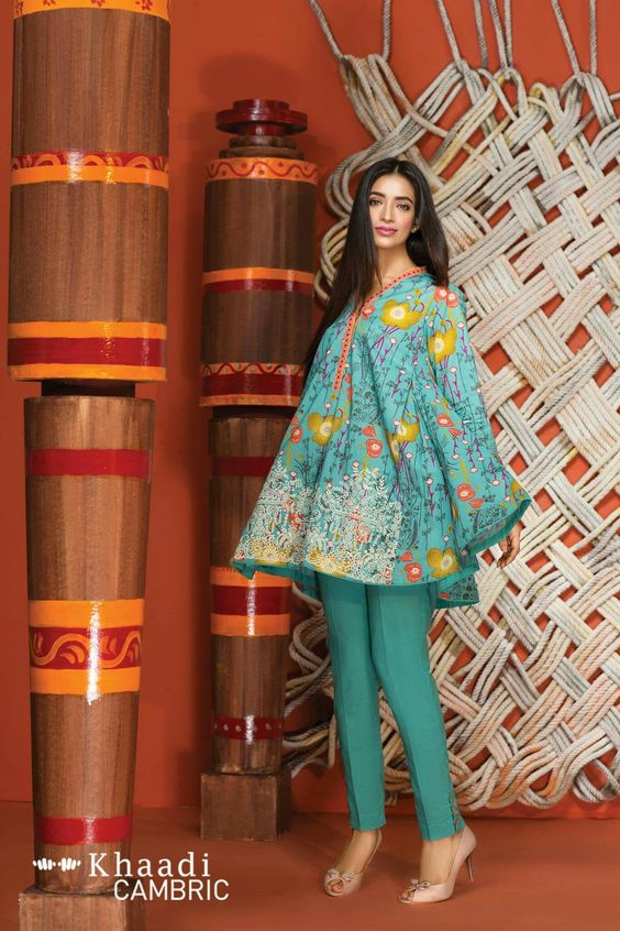 Stitching Styles Of Pakistani Dresses Blue Printed Peplum