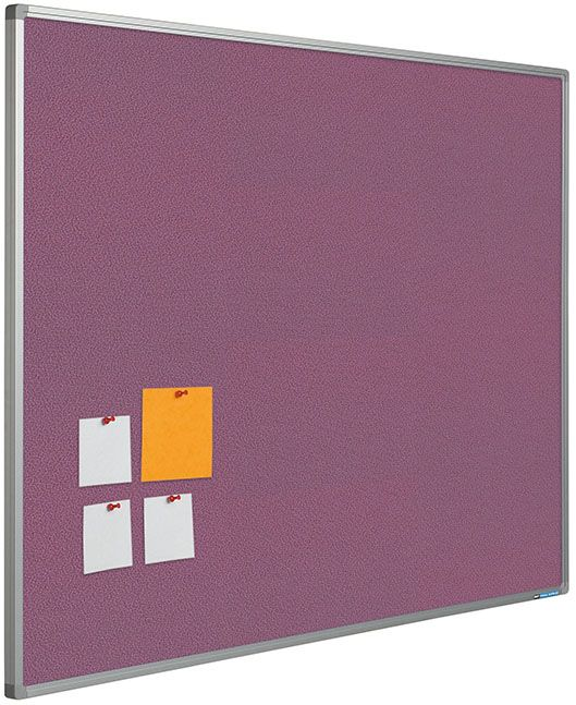 Pin board Camira fabrics Pastel soft-purple with a Softline profile. Trendy pin boards with a pin surface of 100% recycled high-quality textile. Colour and structure pin surface: Pastel range. Features: colourfast, durable, non-pilling, flameresistant, washable and enviromentally friendly. Anodised aluminium Softline profile with grey synthetic corners.