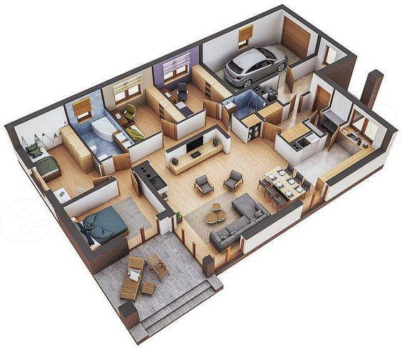 Denah Rumah Minimalis 3 Kamar Tidur 3D 25