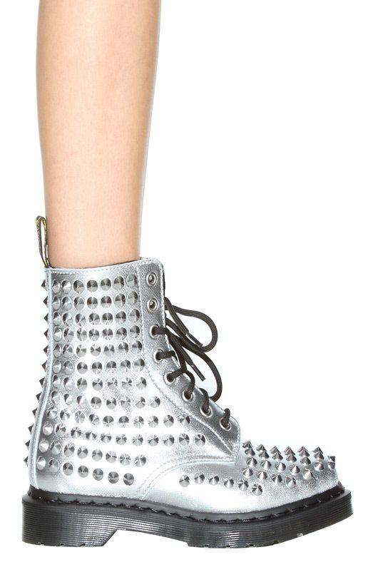 NWB Dr. Martens Spike Silver Boots US 9 #DrMartens #FashionAnkle