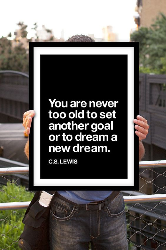 """Inspirational Quote Motivational Print Art Wall Decor """"C.S. Lewis"""" Black and White Typographic Poster Sign Subway Art"""