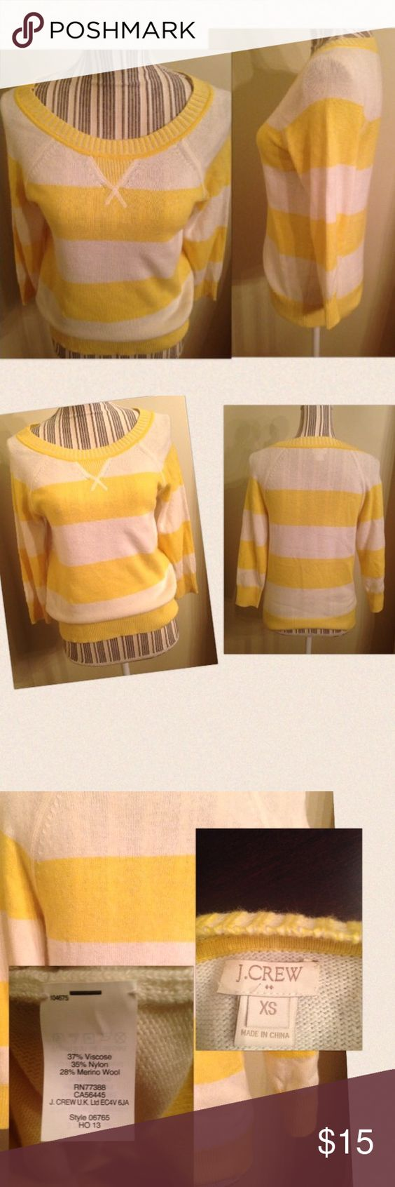 Yellow and white sweater This sweater measures 15 inches from armpit to armpit .   Worn once.  In excellent condition NO peeling, , stains or holes.  A great sweater for the winter. Reasonable offers only.. J. Crew Sweaters Crew & Scoop Necks