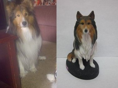 Custom Dog Figurine.  Custom Dog Sculpture.  This is Jake and his 3D Cuddle Clones Pet Figurine.