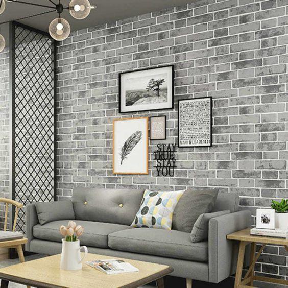 Papel pintado de pared de ladrillo texturizado Vintage gris rollo de decoración del hogar de la sala de estar del dormitorio, naranja, blanco, azul