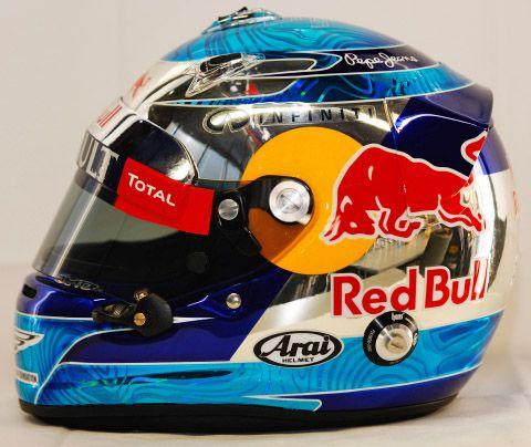 F1 Helmet 2012 Sebastian Vettel Red Bull Racing Whips And