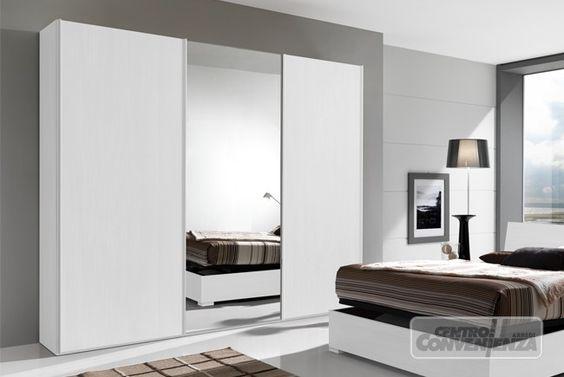 Armadio 3 Ante Scorrevoli Con Specchio Centrale Colore Bianco