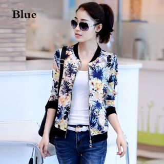 Full print floral bomber jacket for girls stand collar sweatshirts