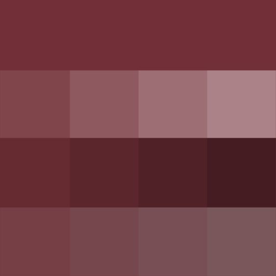 Wine (web) Hue, Tints, Shades & Tones (Hue) ( pure color ) with Tints (hue + white), Shades (hue + black) and Tones (hue + grey, which desaturates the Hue)