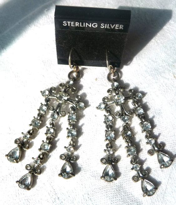 Vintage Rhinestone Chandelier Earrings with New Sterling Silver Ear Wire Hooks for Pierced Ears. At AngelGrace on Etsy.