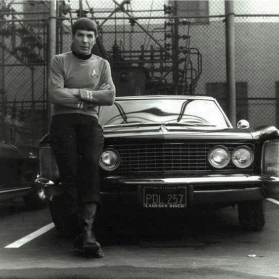 Spock leaning on a Riviera
