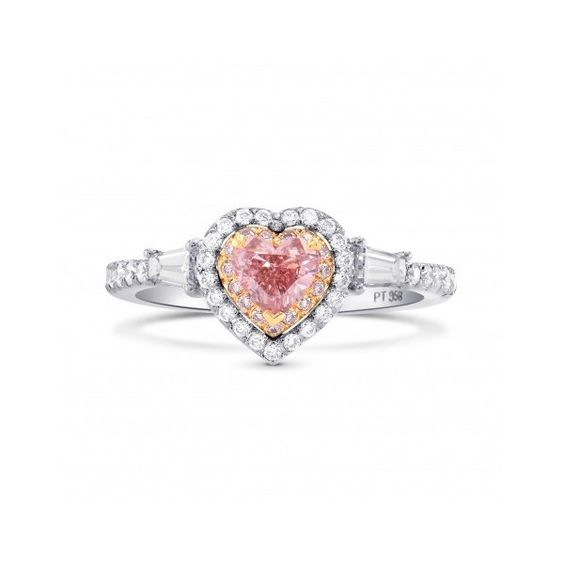 Argyle Fancy Pink Heart Diamond Halo Ring, SKU 247493 (0.90Ct TW) ($15,550) ❤ liked on Polyvore featuring jewelry, rings, heart shaped diamond ring, diamond jewelry, halo diamond engagement rings, fancy rings and heart shaped engagement rings
