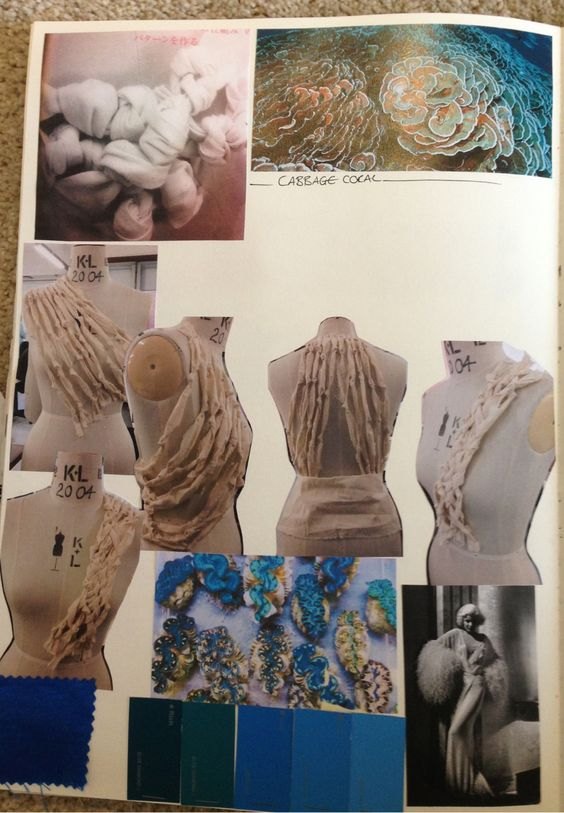 Fashion Sketchbook - coral inspired fashion design with fabric manipulation & draping development; fashion portfolio // Hana Rutledge