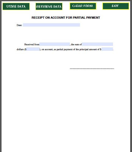 Partial Payment Receipt Form Forms – Receipt of Payment Form