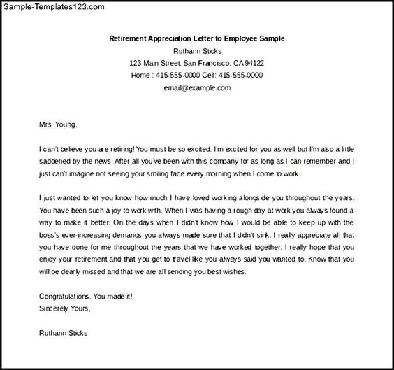 retirement appreciation letter employee sample free download plus - sample retirement letter