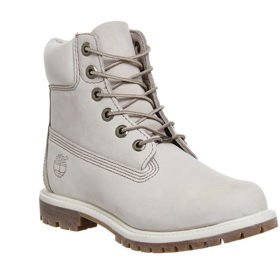 Timberland Premium 6 Boots (850 ILS) ❤ liked on Polyvore featuring shoes, boots, ankle booties, ankle boots, winter white nubuck, women, lace up bootie, short boots, bootie boots and waterproof boots