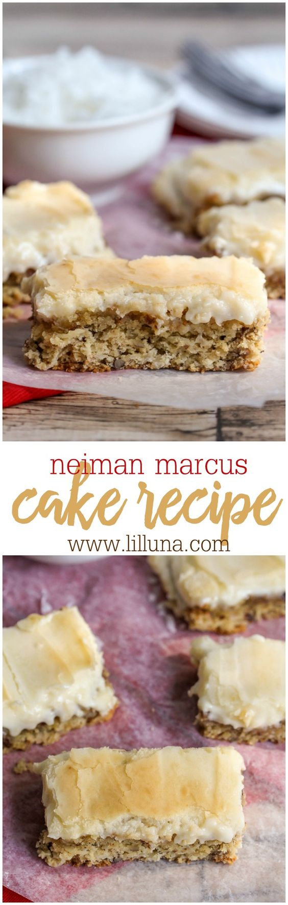 Neiman Marcus Cake - if you've ever had this before, you know how INCREDIBLE the pecan and coconut crust is, with a gooey cream cheese batter layer on top! AMAZING!!