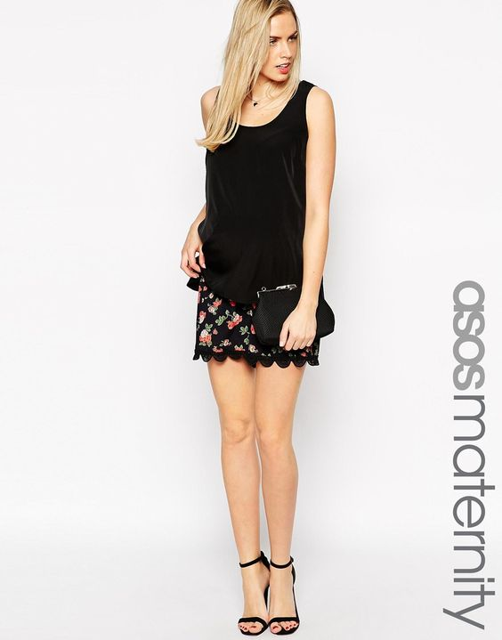 Image 1 ofASOS Maternity Shorts with Lace Trim in Rose Print