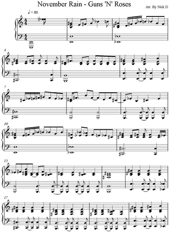 Piano u00bb Piano Tabs November Rain - Music Sheets, Tablature, Chords and Lyrics