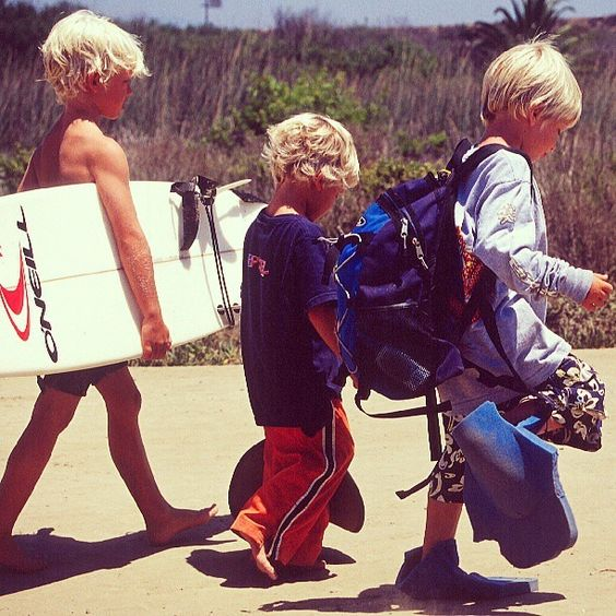 John John Florence with little bro at lowers back in the day Classic groms / Credit: Michael Antorietto: