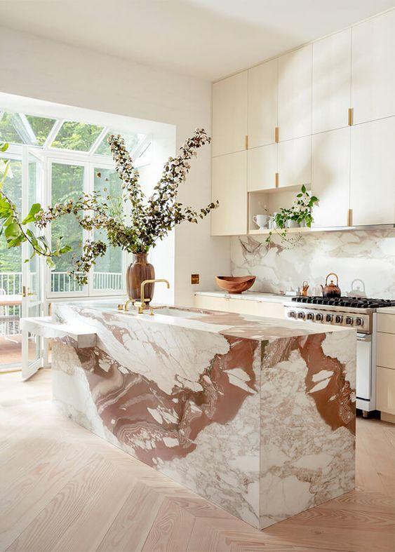 Home Decor Ideas Kitchen Modern House Interior Marble Island
