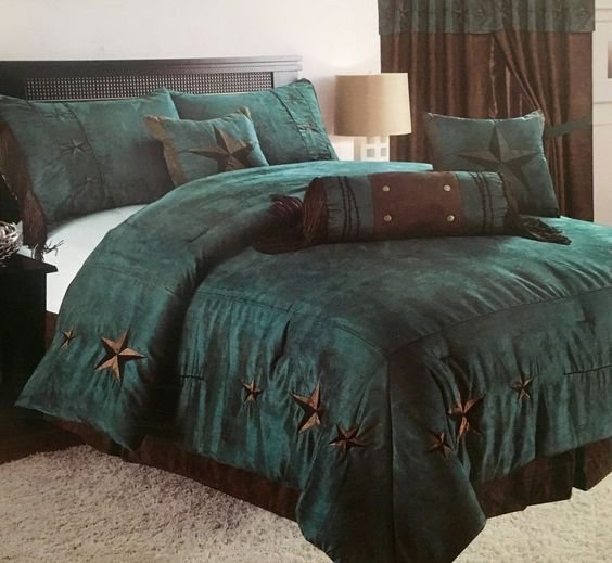 Best Rustic Turquoise Embroidery Star Western Luxury Comforter 640 x 480