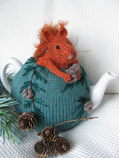 Ravelry: Red Squirrel Tea Cosy and Pine Cone Egg Cosy pattern by Lindsay Mudd: