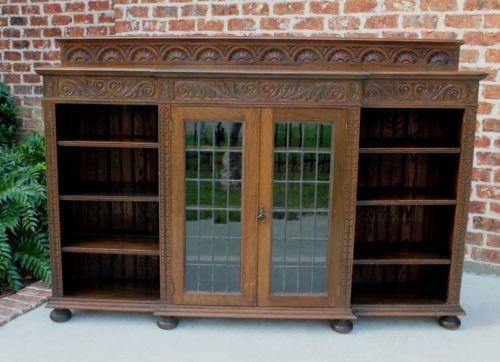Antique English Oak Wide Breakfront Leaded Glass Bookcase Cabinet Sideboard Glass Bookcase Sideboard Cabinet Beveled Glass Doors