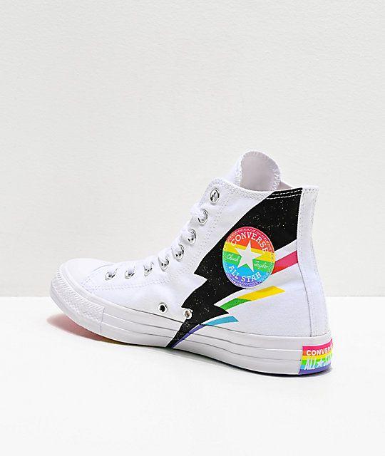 Converse CTAS Hi Pride Ox White, Black & Rainbow Shoes
