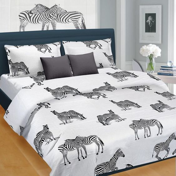 Zebra Animal Pattern Double Bedsheet   Buy Designer Single U0026 Double Bed  Sheets Online At Best