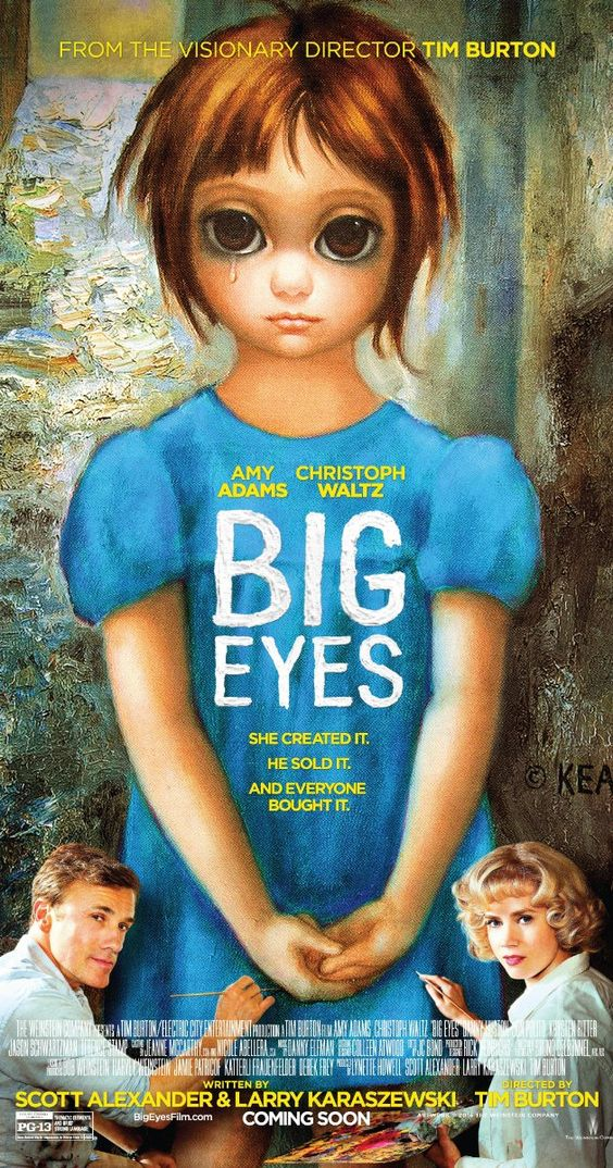 Directed by Tim Burton.  With Christoph Waltz, Amy Adams, Krysten Ritter, Jason Schwartzman. A drama centered on the awakening of the painter Margaret Keane, her phenomenal success in the 1950s, and the subsequent legal difficulties she had with her husband, who claimed credit for her works in the 1960s.