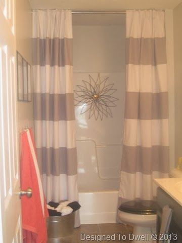 Striped shower curtain neutral bathroom kids bathroom for Bathroom ideas with shower curtain