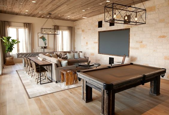 Tracy Hardenburg Designs - media rooms -family room, , rustic media room,  console with chairs, interesting../