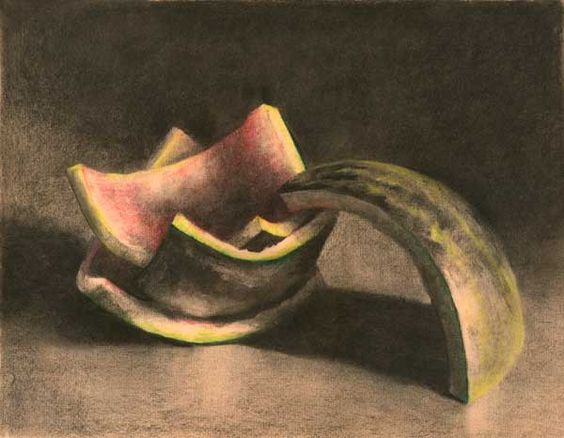 giclee art print of still life charcoal drawing - Slurp - watermelon sepia art for your dining room or ktchen decor. $30.00, via Etsy.