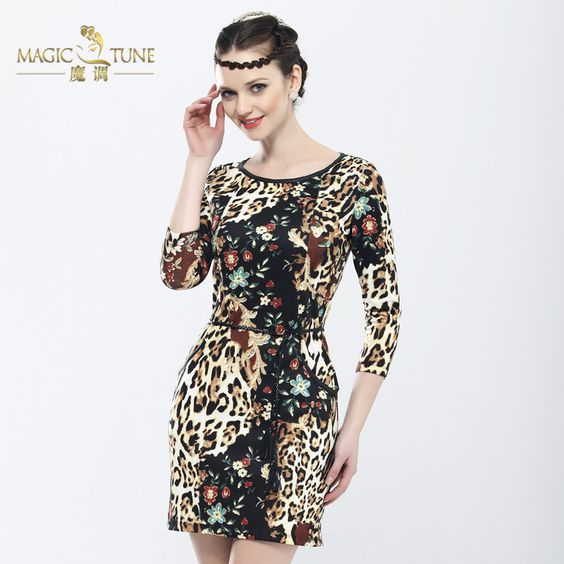 Women's new arrival 2013 spring basic slim one-piece dress leopard print jungle short in size prom $95.65