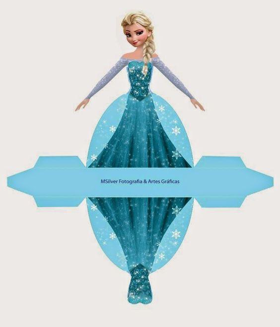 Frozen: Caja con forma de Vestido de Elsa, para Imprimir Gratis.: