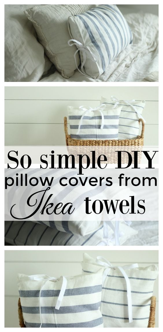Super simple farmhouse style diy pillow covers from ikea towels: