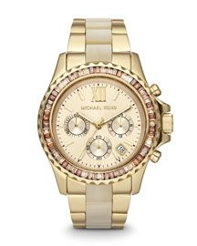 Michael Kors Michael Kors Mid-Size Two-Tone Stainless Steel Everest Chronograph Glitz Watch