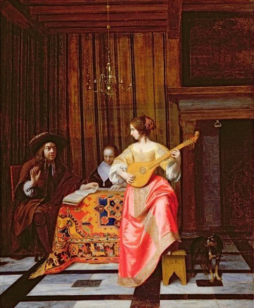 Pieter de Hooch - Vrouw met een cister en een zingend echtpaar aan tafel