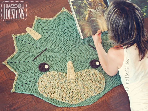 Just released!!! Cera The Triceratops Dino Rug PDF Crochet Pattern by IraRott Inc.