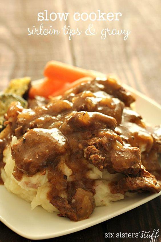 Slow Cooker Beef Sirloin Tips and Gravy on MyRecipeMagic.com